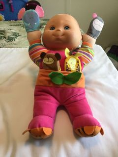 Soft 14 inch baby doll with puppets