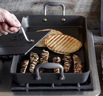 Pampered Chef Double Burner Grill Pan and 2 Presses. $200 ($250 catalog price)