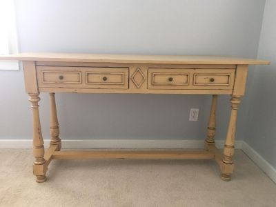 Large wooden accent table from Nadeau in homewood