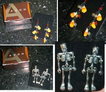 New Pair Halloween Avon Pierced Earrings Silver Jointed Skeletons