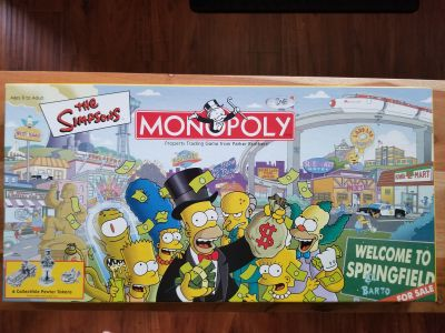 Simpsons board games: Monopoly, Clue, and Pictionary