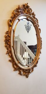 Vintage Syroco 1967 Hollywood Regency Ornate Aged Gold Framed Mirror