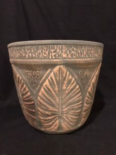 Brushware Stoneware Art Pottery Jardiniere Planter with Sage Green Raised Leaf Design: Antique, Unmarked - Red Wing??