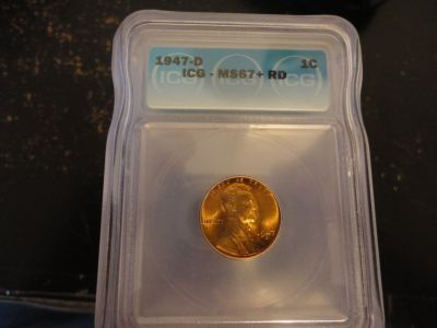 1947 d ms67+ rd lincoln cent lists for $4000.00