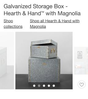 CHIP & JOANNA GAINES--'MAGNOLIA FARMS/ HEARTH & HAND' GALVANIZED STORAGE BOX WITH LID--> [LARGER SIZE IN PIC]