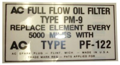 Buy 1953 1954 1955 1956 Buick Oil Filter Decal - PF-122 motorcycle in San Diego, California, United States, for US $6.92