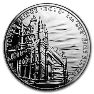2018 GB 1 oz Silver Landmarks of Britain (Tower Bridge)