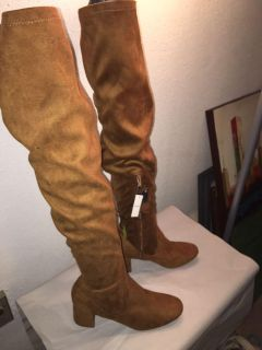 Soft suede-like thigh high boots, new with tags, size 10, rich brown color