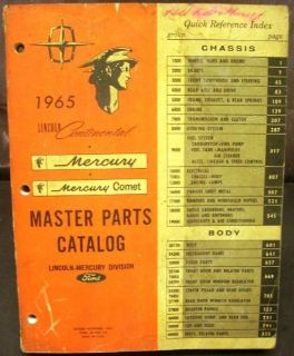 Buy Original 1965 Lincoln Mercury Dealer Master Parts Catalog Book Continental Comet motorcycle in Holts Summit, Missouri, United States, for US $124.64