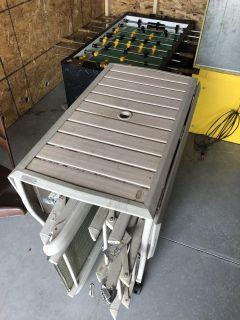 Free-Outdoor table with chair storage underneath