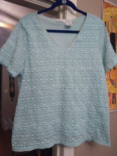 Pretty light blue top. Size XL . Sheer but lined and cool weight. VGUC