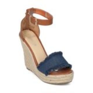 Denim Wedge Sandals