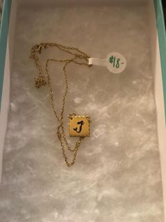 Mermaid Square Etched Necklace in Gold