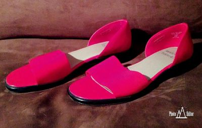 Women's Red Open Toe Closed Heel Shoes Size 10