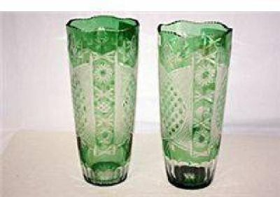 $66 Emerald Crystal Flow Vases