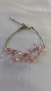 """Perfect For Gift Giving - Silver Bracelet w/Pink Jewels - Adjust 6"""" to 7.5"""""""