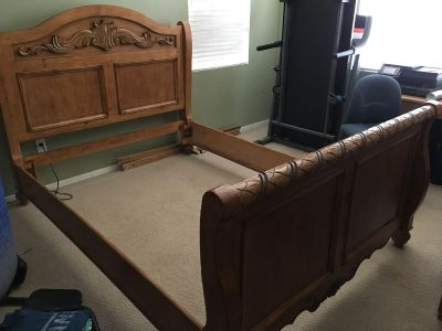Queen solid wood bed frame