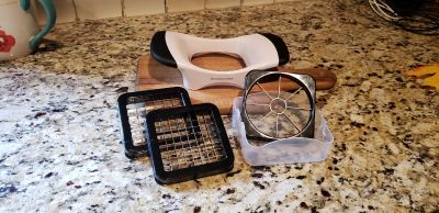 Kitchen Aid Easy Grip Apple and Potato Blades. Comes with 3 Interchangeable Blades & Box to Store them in. New. Never Used.