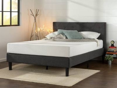 Zinus Upholstered Diamond Stitched Platform Bed - Queen - New!