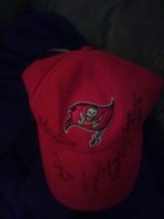 autographed Tampa Bay jersey and hat