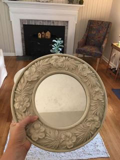 Cute round mirror- shabby chic floral