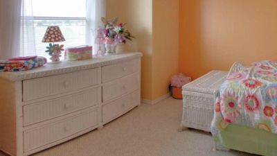 White Wicker Dresser, toy chest and oval mirror