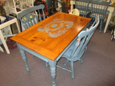 Painted Country Kitchen Table With 2 Chairs