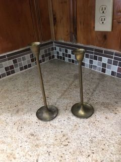 Set of two brass candle holders