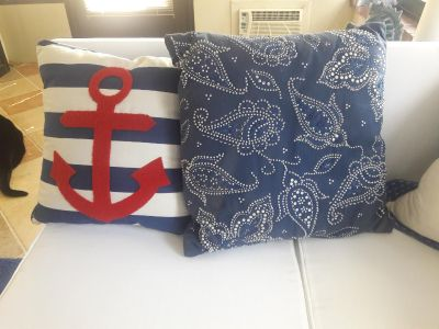 Blue, white, & red pillows