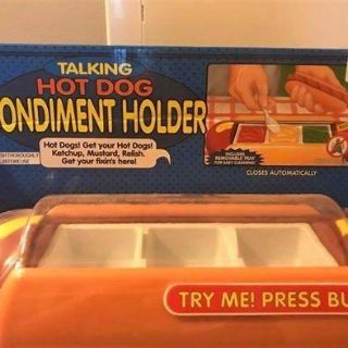 New/Unused Talking Hot Dog Condiment Holder (Cute Novelty Item For Picnics & Parties)!!