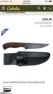 For Sale: Winkler and sons/Case skinner knife