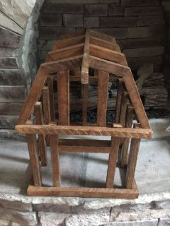 Unique hand crafted wood barn. Lots of decorating possibilities! Great gift.