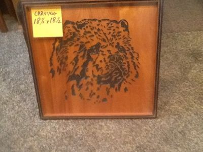 Chow chow dog wood carved picture