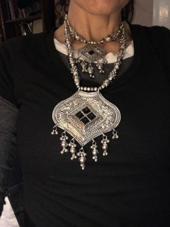 Ethnic silver necklace and earrings N W/O Tag