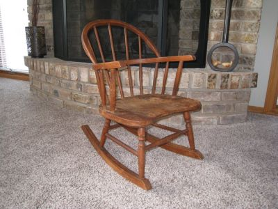 Vintage and Antique Child or Doll Wooden Rocking Chair