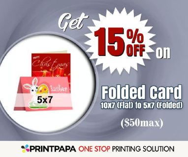 15% Off on Folded Card - 10x7 (Flat) to 5x7 (Folded) from PrintPapa