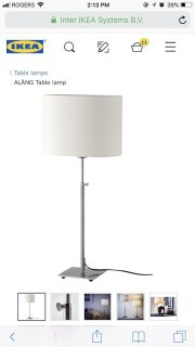 Ikea Table lamps nickel plated, white set of 2