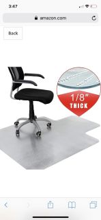 """48-Inch by 36-Inch 1/8""""(3MM) Thickness Plastic Floor Office Chair Mat 48"""" X 362 - Clear Protector Office Chair Rug Carpet Floor"""
