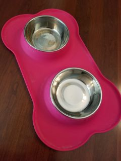 Stainless Dog Bowls in Slip Proof Base