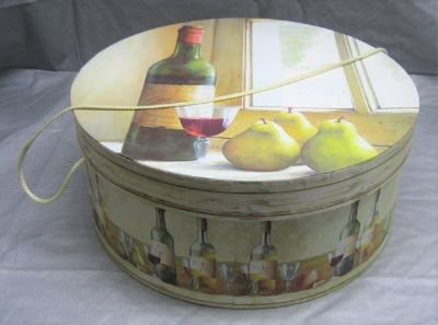 Decorative Round Box - Hat Storage, Display, Etc. - Wine Motif