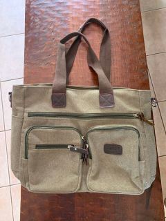 Army Green & Brown Canvas Tote bag