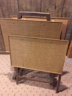 Set of 4 TV Tray Tables (on cart)