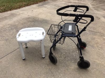 Walker with Detachable Basket & Shower Chair