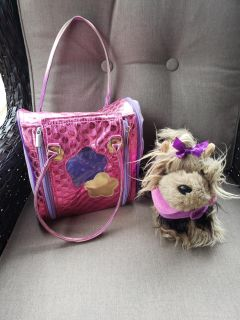 Stuffed animal dog with carrying kennel