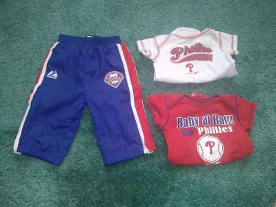 3 Piece Phillies Baby Clothing Lot Size 3 - 6 Months