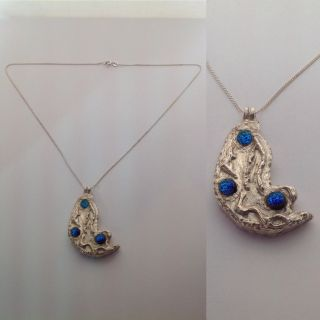 Sterling Silver Blue Dichroic Moon Necklace