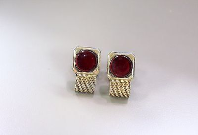 Collectible vintage gold tone red gem stone cuff links gold tone chain button