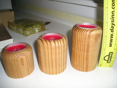 TEA CANDLES WITH WOODEN HOLDERS