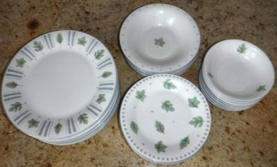 35pc Set Stoneware Dishes - plates/bowls