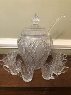 Czech Cut Crystal Punch Bowl, ladle and cups